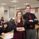 Pupils at front of class at Holy Cross College & University Centre