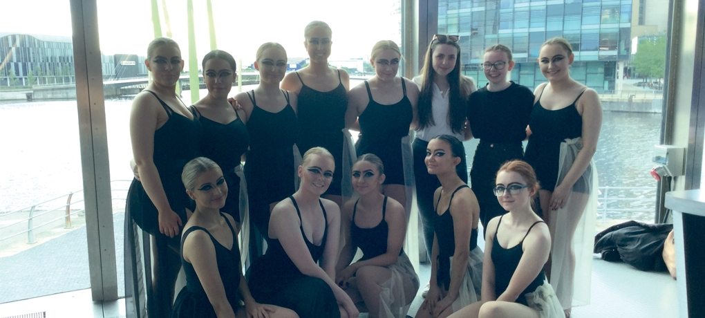 Students from the A Level Dance course in the Lowry Theatre, Salford Quays