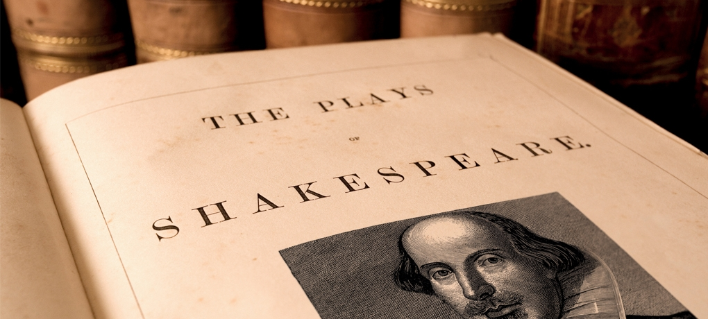 Photo of an open book, 'The Plays of Shakespeare', used to illustrate the A Level English Literature Course