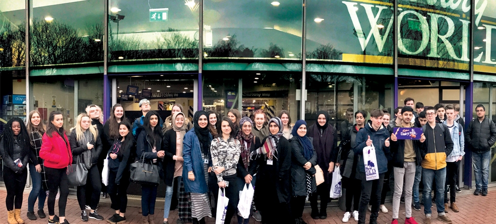 Our BTEC Level 3 Business Course students outside Cadbury World in Birmingham