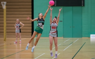 Students playing Netball at Holy Cross College