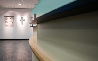 Reception desk at Holy Cross College
